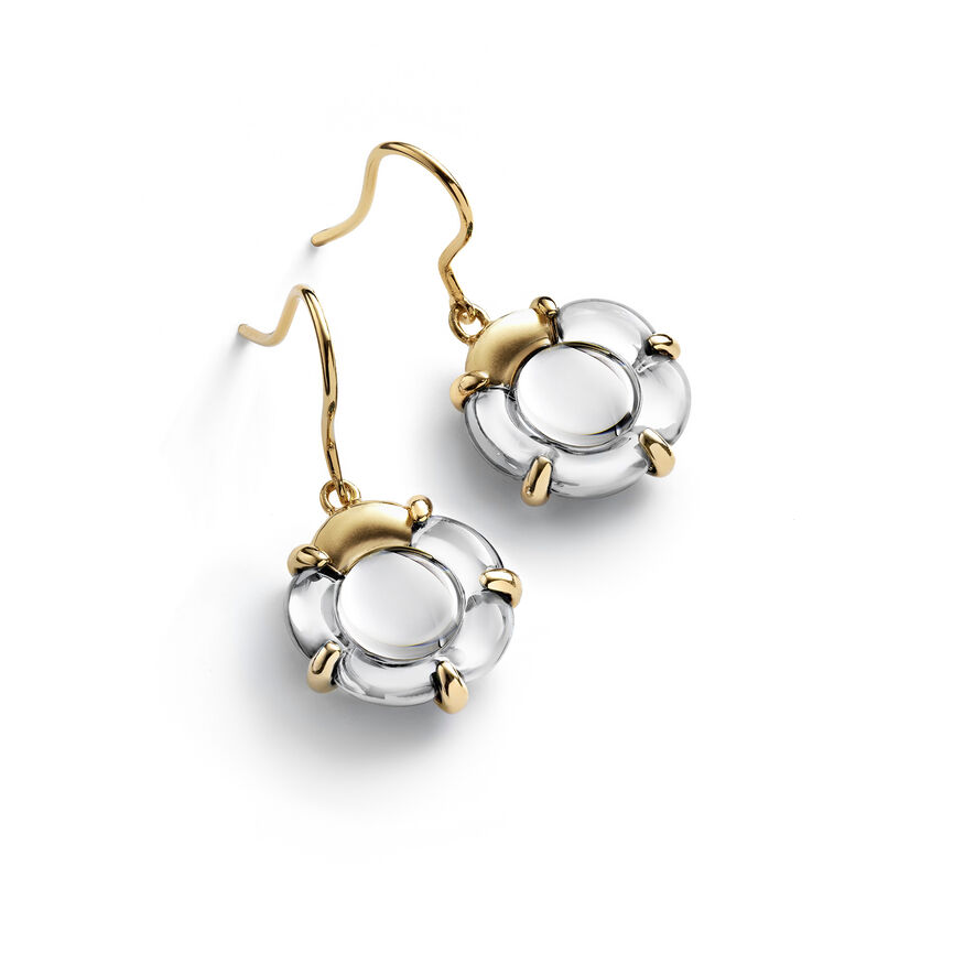 B FLOWER EARRINGS, Mirror clear