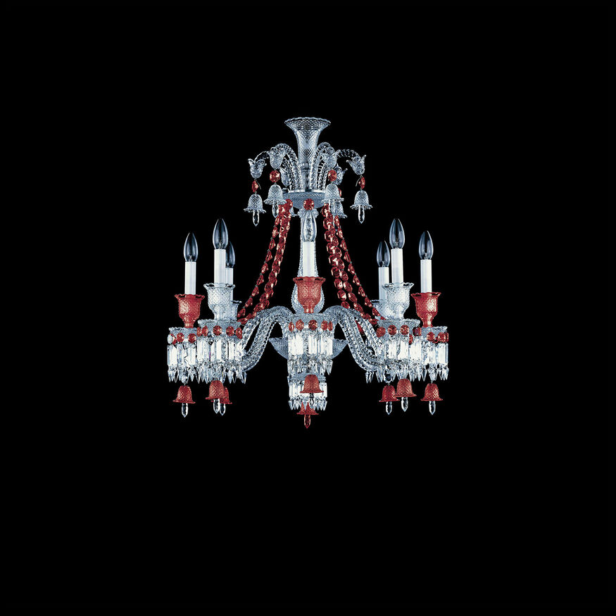 ZÉNITH CHANDELIER 8 TO 24 LIGHTS, Clear & red