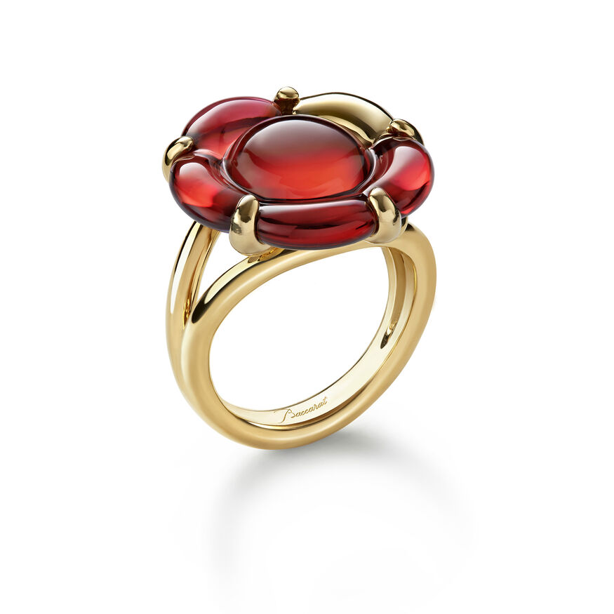 B FLOWER RING, Red mirror