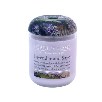 Heart & Home Lavender Sage Small Candle Jar 274g, , large