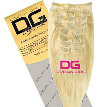 DREAM GIRL Euro Clip On Hair Extensions 18 Inch 613, , large