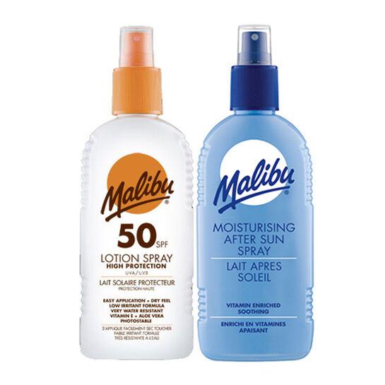 Malibu Sun Protection Lotion SPF50 & Aftersun Duo 200ml, , large