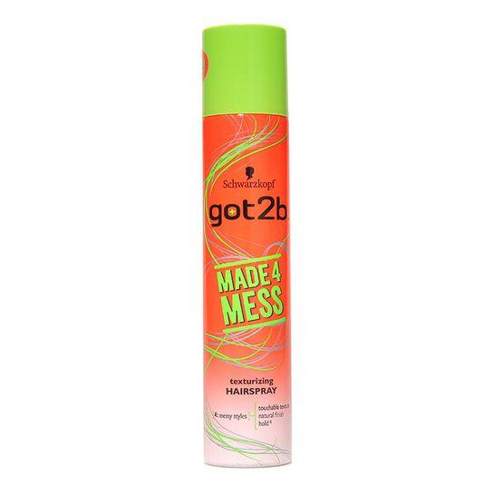 Schwarzkopf Got2b Made 4 Mess Texturizing Hairspray 275ml, , large