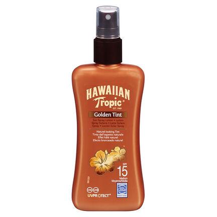 Hawaiian Tropic Golden Tint Sun Spray Lotion SPF15 200ml, , large