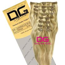 DREAM GIRL Euro Clip On Hair Extensions 18 Inch P10/613, , large