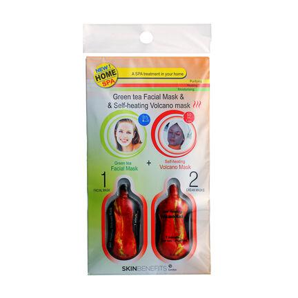 Skin Benefits Green Tea Facial & Self Heating Volcano Masks, , large