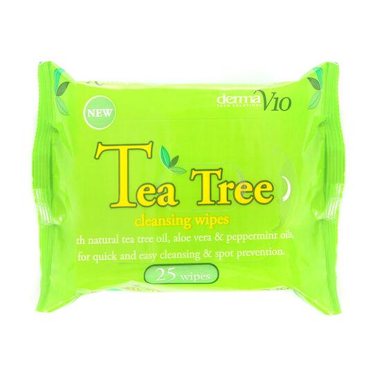 DermaV10 Tea Tree Cleansing Wipes 25 Pack, , large