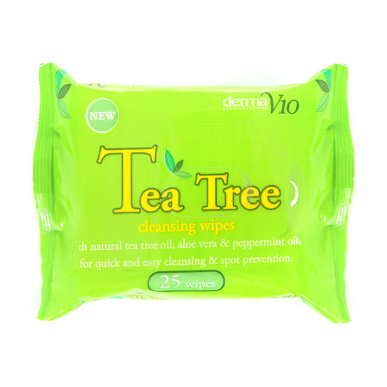 Derma V10 Tea Tree Cleansing Wipes 25 Pack, , large