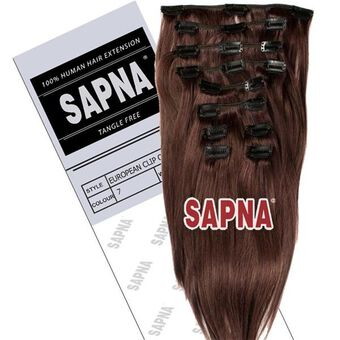 SAPNA Euro Clip On Hair Extensions 20 Inch 7, , large