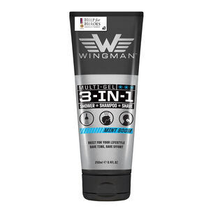 Wingman 3 in 1 Shower Shampoo Shave Mint Boom 250ml, , large