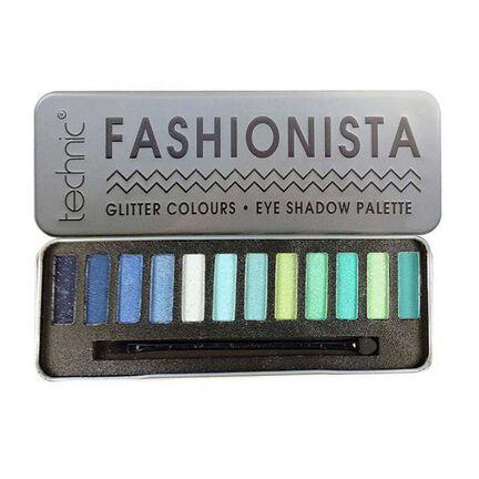 Technic Fashionista Glitter Eyeshadow Palette Blues & Greens, , large