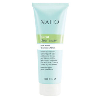 Natio  Acne Clear Away Dual Action Cleanser & Toner 100g, , large