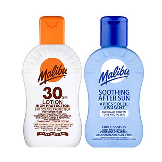Malibu Sun Protection Lotion SPF30 & Aftersun Duo 200ml, , large