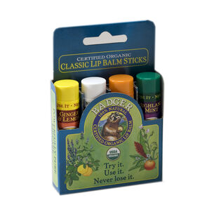 Badger Balm Classic Lip Balm Blue Gift Set 4 x 4.2g, , large