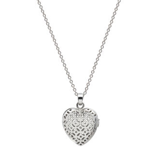 Flo Perfume Jewellery Small Heart Necklace Silver, , large