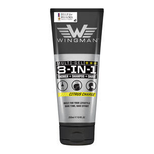 Wingman 3 in 1 Shower Shampoo Shave Citrus Charge 250ml, , large