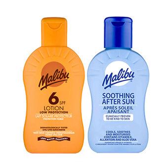 Malibu Sun Protection Lotion SPF6 & Aftersun Duo 200ml, , large