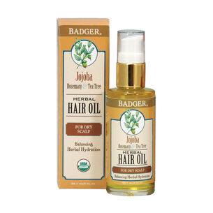 Badger Balm Jojoba Rosemary & Tea Tree Hair Oil 59.1ml, , large