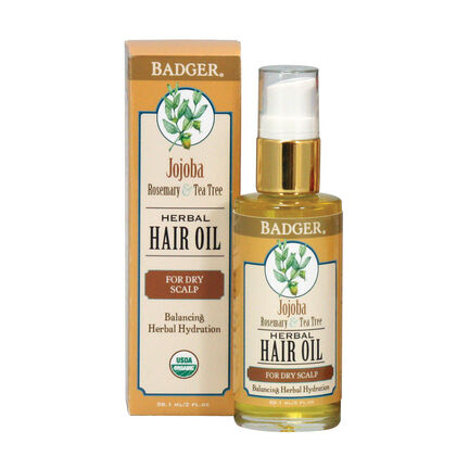 Badger Balm Jojoba Rosemary & Tea Tree Hair Oil 59.1ml, , large