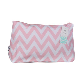 Opal Crafts Large Pink Zig Zag Wash Bag, , large