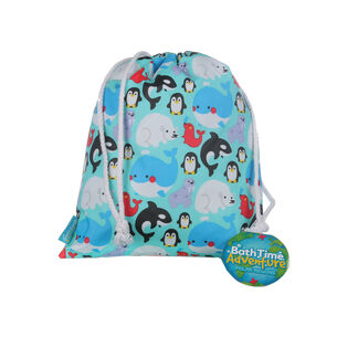 Bath Time Adventures Polar Animals Drawstring Wash Bag, , large