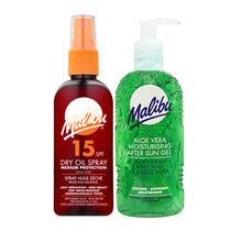 Malibu Dry Oil Spray SPF15 & Aloe Vera Aftersun Gel 200ml, , large