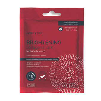 BeautyPro BRIGHTENING Collagen Sheet Mask with Vitamin C 23g, , large