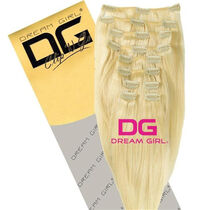 DREAM GIRL Euro Clip On Hair Extensions 20 Inch 613, , large