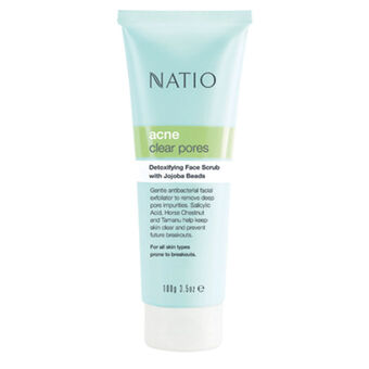 Natio Acne Detoxifying Face Scrub with Jojoba Beads 100g, , large