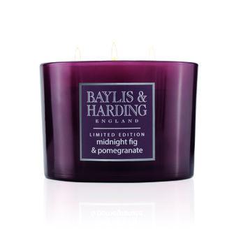 Baylis & Harding Wild Blackberry & Apple Triple Wick Candle, , large