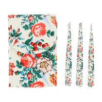 The Vintage Cosmetic Company Floral 3 Piece Tweezer Set, , large