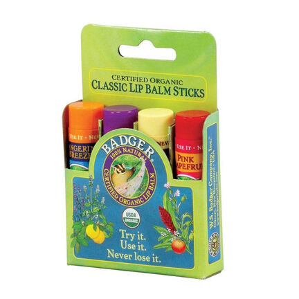 Badger Balm Classic Lip Balm Green Gift Set 4 x 4.2g, , large
