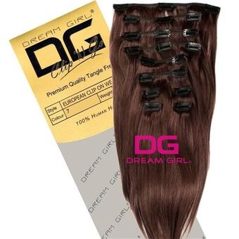 DREAM GIRL Euro Clip On Hair Extensions 18 Inch 7, , large