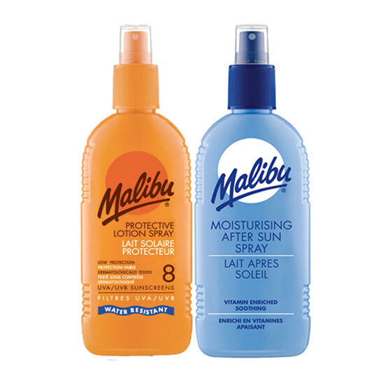 Malibu Sun Protection Lotion SPF8 & Aftersun Duo 200ml, , large