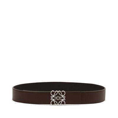 LOEWE Anagram Belt 4Cm Black/Maple Brown front