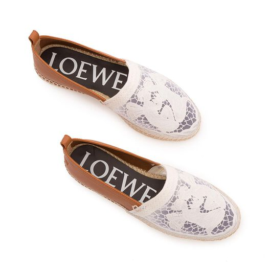 LOEWE Espadrille Broderie Anglaise Camel/Blanco all