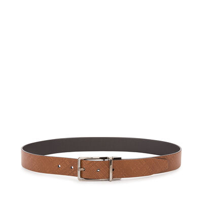 LOEWE Formal Belt 3.2Cm Adj/Rev Dark Brown/Black/Ruthenium front