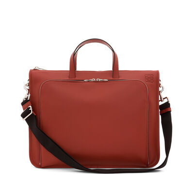 LOEWE Wide Briefcase Rust Red front
