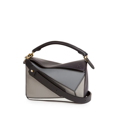 LOEWE Puzzle Small Bag Grey Multitone front
