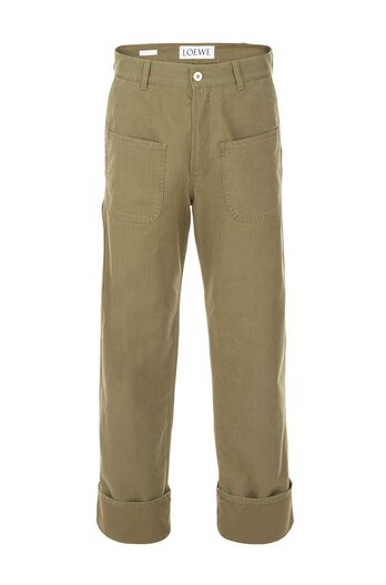 LOEWE Trousers Patch Pockets Khaki Green all