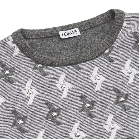 LOEWE Sweater Jacquard Studs Grey/White all