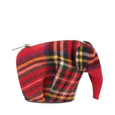 LOEWE Elephant Coin Purse Red Tartan front