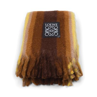 LOEWE Mohair Stripes Blanket Yellow/Brown front