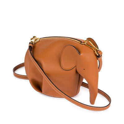 LOEWE Elephant Mini Bag Tan/White front