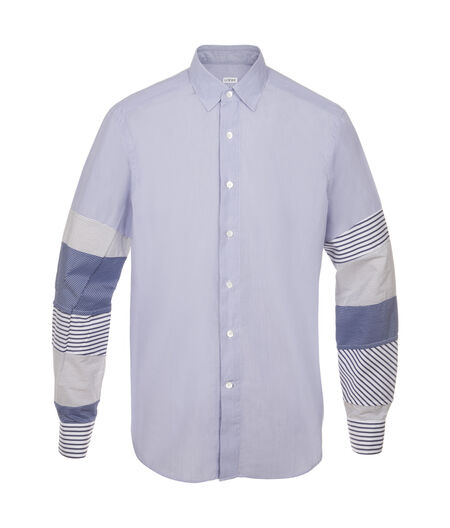 LOEWE Patchwork Sleeve Shirt Blue/White all