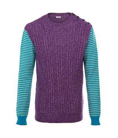 Ribbed And Striped Crewneck