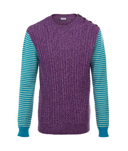 LOEWE Ribbed And Striped Crewneck Purple Melange all