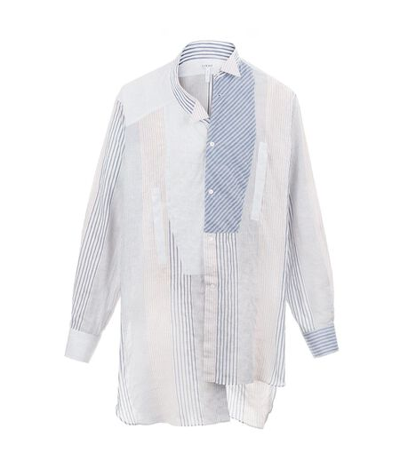 LOEWE Asymetric Shirt Patchwork White/Navy/Red all