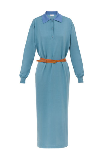 LOEWE Poloneck Knit Dress Light Blue all