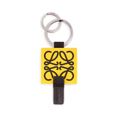 LOEWE Anagram Rubber Keyring Yellow/Navy/Palladium front